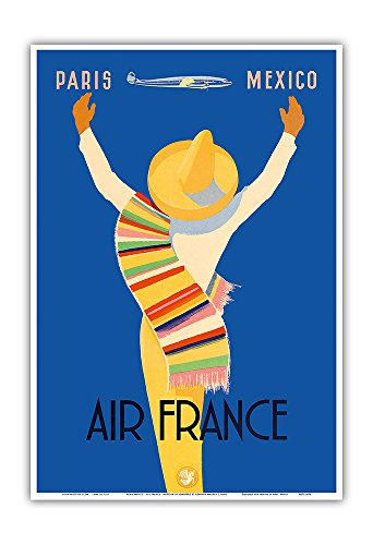 paris-mexico-air-france-native-mexican-in-sombrero-and-poncho-vintage-airline-travel-poster-by-edmon