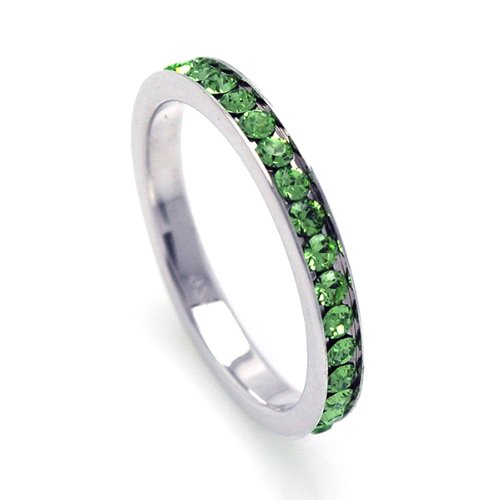 2.5mm Sterling Silver Channel Set Cubic Zirconia August Birthstone Peridot Simulant Eternity Ring Band (Sizes 3 to 9) - Size 3