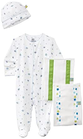 Noa Lily Baby-Boys Newborn Turtle Themed 4 Piece Gift Basket Set, Blue, 6 Months