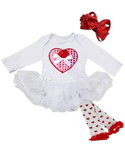 Cute 3 Piece Pink Heart Valentine's Day White Baby Tutu Dress Outfit