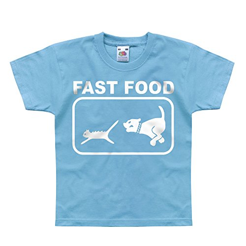 Nutees Fast Food Dog Chasing Cat Unisex Kids T Shirts - Light Blue 1/2 Years front-654748