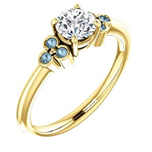 18K Yellow Gold Round Cut White and Blue Diamond Engagement Ring