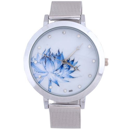 WLM Blue Lotus Stainless Steel Mesh Quartz Wrist Watch Women's Watch on Sale Clock
