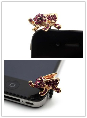 Nine States Crystal Bling Rhinestone Cute Elephant 3.5Mm Headphone Jack Anti Dust Plug Ear Cap For Iphone 5 5S 5C Iphone4,4S,Ipad ,Ipod Touch ,Samsung Galaxy S3 S4 Note 3 Note2,Blackberry And Other Cellphone Purple And Golden