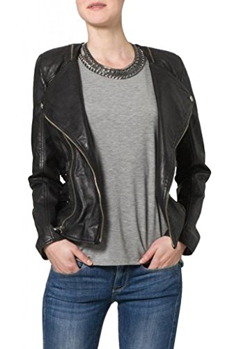 Women's Soft Ladies REAL Leather Stylish Fitted BIKER Jacket W114 S Black