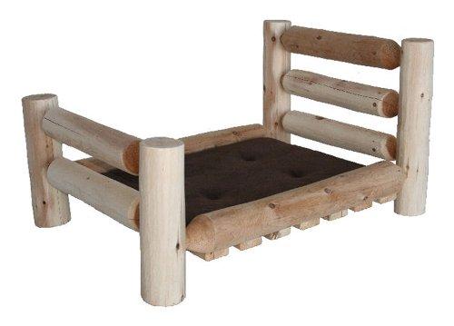 Wood DOG BED Rustic Log Wooden Pet Bed (Horizontal Headboard)-Small