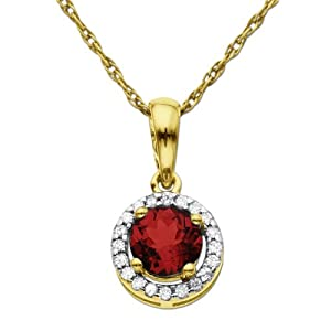 10K Yellow Gold Round Ruby Diamond-Framed Pendant