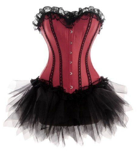 [Kranchungel T036 Women's Gothic Lace up Corset Dress Moulin Rouge Showgirl Costume Medium Wine red] (Moulin Rouge Costumes)