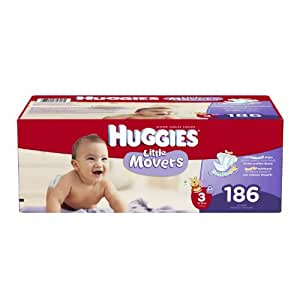 Huggies Little Movers Diapers Economy Plus, Size 3, 186 Count (packaging may vary)