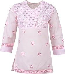 ALMAS Lucknow Chikan Cotton Regular Fit Kurti (Light Pink and Pink)
