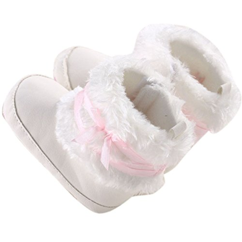 Bestpriceam (Tm) Baby Boy Girl Bow-Knot Shoes Toddler Winter Snow Warm Boots Brow (13Cm, White)