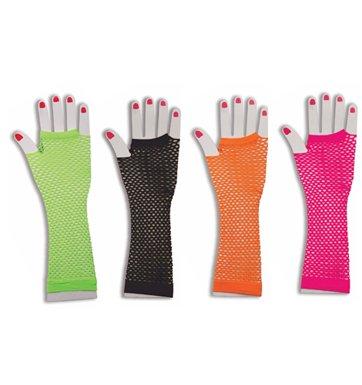 80's Long Neon Fishnet Gloves Costume Accessory