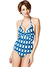 Halterneck Spotted Tie Dye Ruched Swimsuit