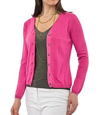Wool Overs Women's Silk & Cotton V Neck Cardigan Cerise Small