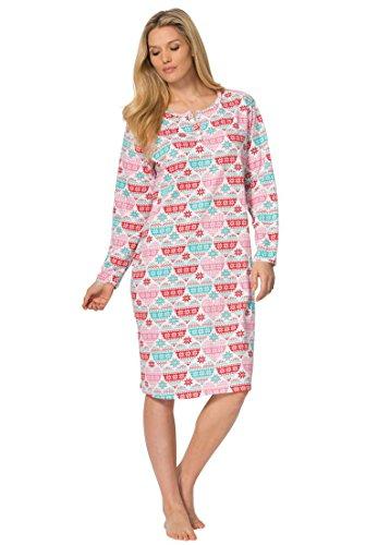 Dreams & Co. Women's Plus Size Knit Sleepshirt White Fair Isle,5X/6X