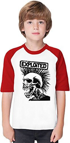 The Exploited Band Soft Material Baseball Kids T-Shirt by True Fans Apparel - 100% Organic, Hypoallergenic Cotton- Casual & Sports Wear - Unisex for Boys and Girls 3-4 years