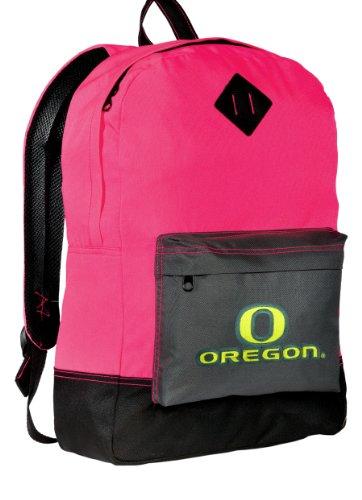 University Of Oregon Neon Pink Backpack Uo Ducks Medium Size Ncaa Logo Stylish Neon Color School Bags