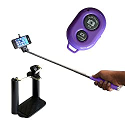Selfie Stick with Bluetooth Remote Monopod - Purple