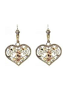 14k Tricolor Gold, Fancy Filigree Style Virgin Guadalupe Heart Design Dangling Religious Earring with Sparkly Cuts