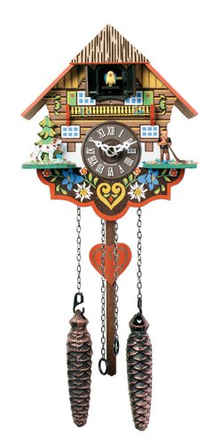 River City Clocks Musical Multi-Colored Quartz Cuckoo Clock – 8 Inches Tall – Model # M8-08PQ