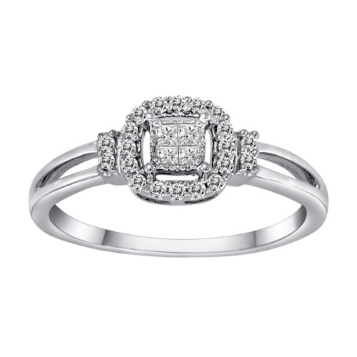Sterling Silver Princess-Cut Center and Diamond-Accent Ring (0.15 cttw, H-I Color, I2-I3 Clarity), Size 7