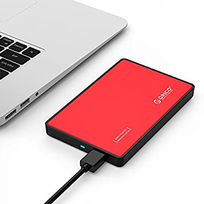 """ORICO Tool Free USB 3.0 SATA External Hard Drive Enclosure for 2.5"""" HDD and SSD- Red"""