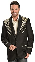 Scully Men\'s Gold Floral Embroidered Western Jacket Gold 44 R