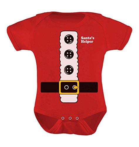 Teestars Unisex- Santa'S Little Helper Baby Onesie 18 - 24 Months Red