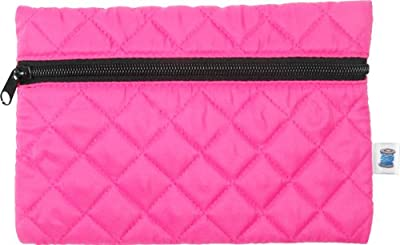 Quilted Cosmetic Bag- Hot Pinkblack - By Threadart by Threadart