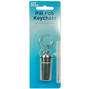 Waterproof Airtight Pill Fob Holder Med Rx Box Keychain