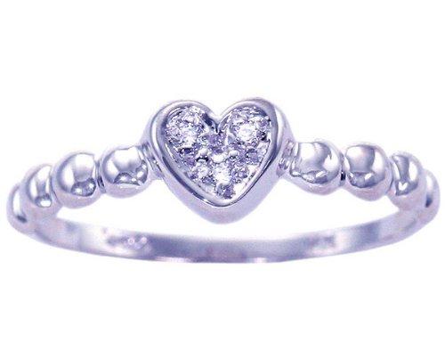 14K White Gold Diamond Petite Heart Promise Ring-Diamond, size7