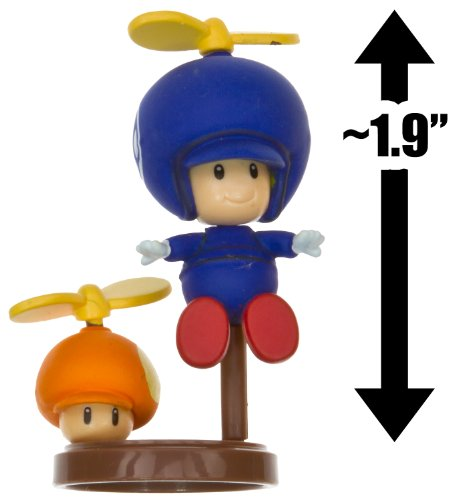 "Propeller Toad [Blue] & Propeller Mushroom ~1.9"" Mini Figure [New Super Mario Bros. Wii Choco Egg Series #1 - NO CANDY] (Japanese Import) [05 - Blue] - 1"