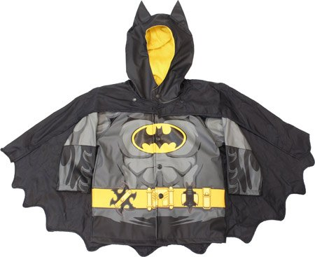 Western Chief Boy'S Batman Caped Crusader Raincoat, Black, 3T