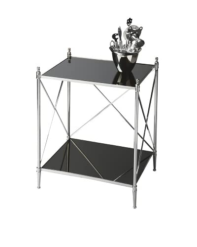 Butler End Table, Black Glass/Chrome