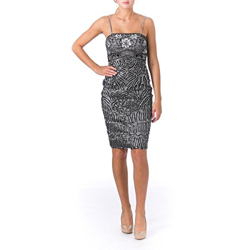 4bfe0b11332 Sue Wong Womens Prom Embellished Cocktail Dress Gray 6