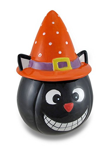 Ceramic Halloween Themed Cookie/Treat Jar w/Pointed Hat Lid