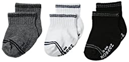 Robeez Baby-Boys Newborn 3 Pair Socks Goes with Everything, Grey, 12-24 Months