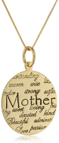 """Gold over Sterling Silver """"Mom, Understanding, Warm, Wise Strong, Loving, Sweet, Devoted, Beautiful, I Love You"""" Circle Graffiti Pendant Necklace, 18″"""