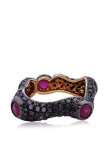 Socheec Cool Square Black Diamond & Ruby Ring