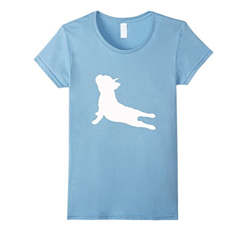 Women's French Bulldog Yoga T-Shirt Medium Baby Blue (Bulldog Blues compare prices)