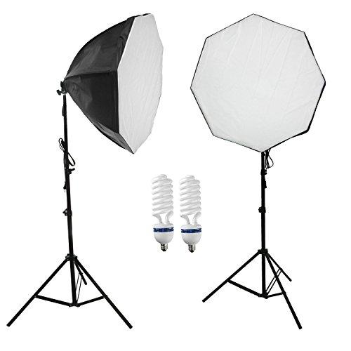 Diffusori di Luce Softbox 60cm per la Fotografia con Bulbi da a Luce Continua 5500K