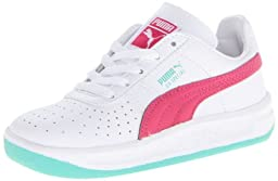 PUMA GV Special Leather Sneaker (Toddler/Little Kid),White/Beetroot Purple/Electric Green,1 M US Little Kid