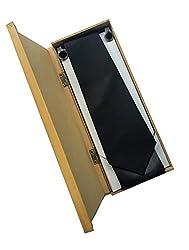 Michelangelo Black Broad Tie Pocket Square and Round Black Cufflink Set (PU Box)