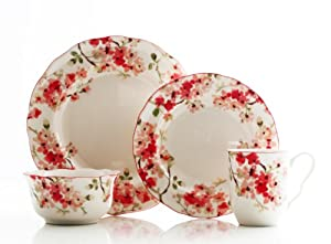 222+Fifth 222 Fifth 16-Piece Dinnerware Set, Cherry Blossom, Service for 4