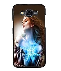 Fuson Sparkle Heart Girl Back Case Cover for SAMSUNG GALAXY GRAND 3 - D4004