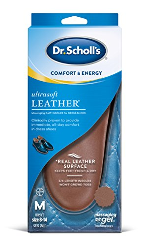 Dr. Scholl's Ultrasoft Leather Insoles for DRESS Shoes (Men's 8-14) // All-Day Comfort with Massag