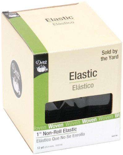 "Dritz Non-Roll Elastic 1""X12 Yards-Black"