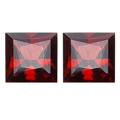 2.52 Cts of 6x6 mm Princess AAA Loose Garnet ( 2 pcs set ) Gemstones