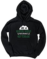 HippoWarehouse Be A Super Hero For Animals Go Vegan unisex Hoodie hooded top