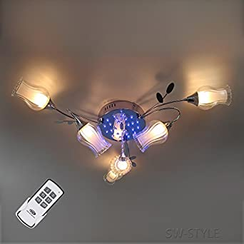 RGB LED Decken Kristall Leuchte Farbwechsel Fernbedienung Chrom Lampe Glas opal